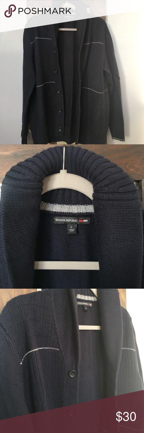 Banana Republic MAD MEN Cardigan Sweater Men's Large, Navy Blue, New With No Tags Banana Republic Sweaters Cardigan