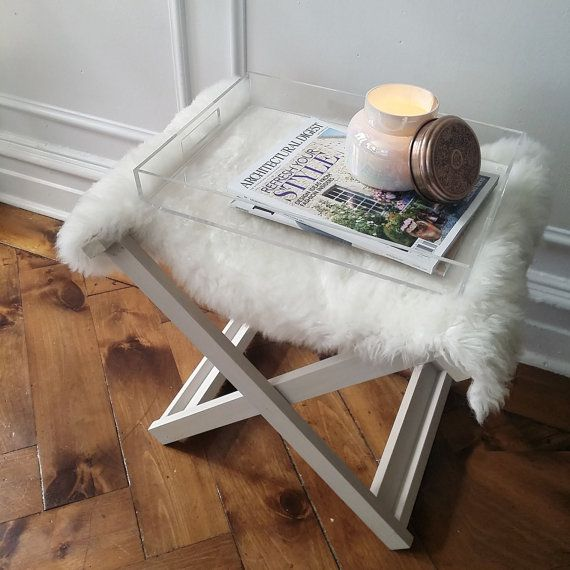 X-bench // Solid wood folding x-bench with ivory by viaMelinda