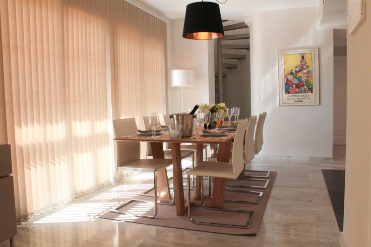 Dining, wooden table, dining chairs, pendant lighting, vertical blinds, by Pulse Interior Design