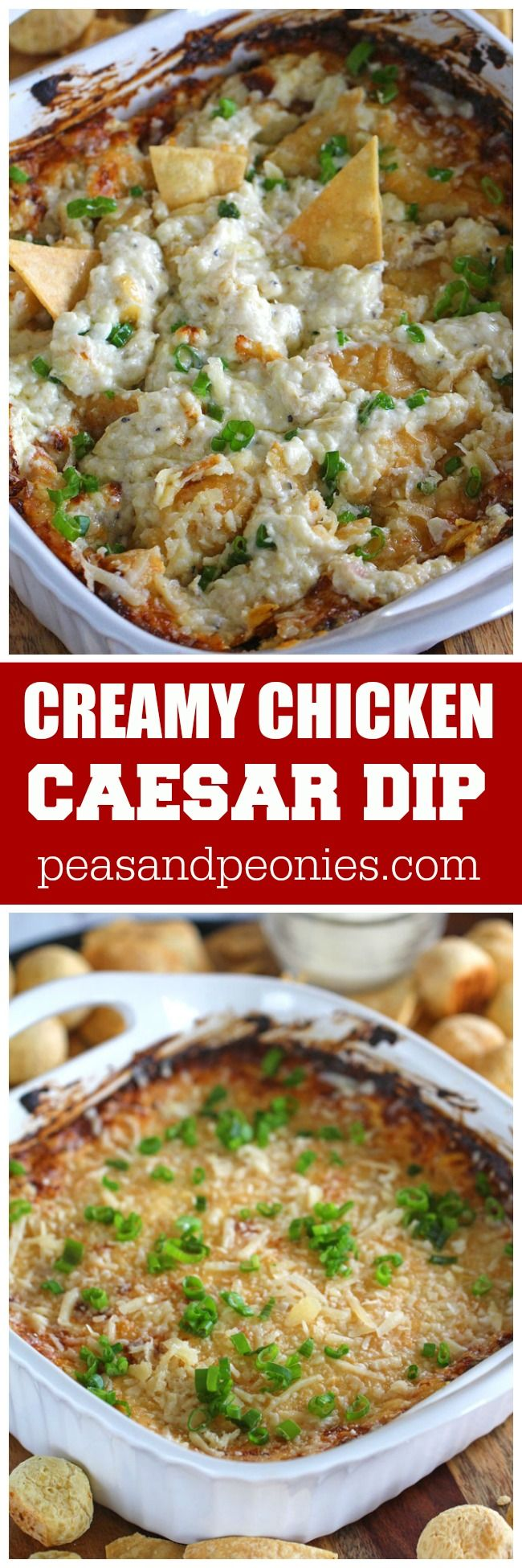 Caesar Dip made with shredded rotisserie chicken is the ultimate dip! Creamy, cheesy and hearty, the dip will be the highlight of any party! #MomBlogTourFF {ad}