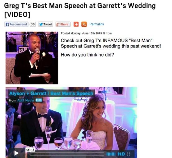 Greg T's Best Man Speech at Garrett's Wedding [VIDEO]