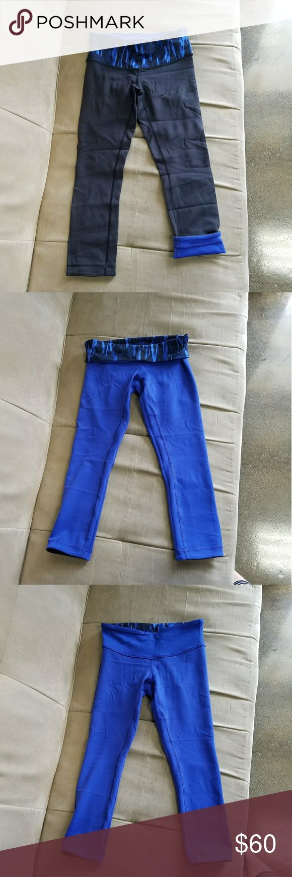 "Lululemon black blue reversible wunder under crops Blue/black reversible wunder under crops with ""painted"" pattern royal blue waistband. No pilling. Excellent condition. lululemon athletica Pants Leggings"