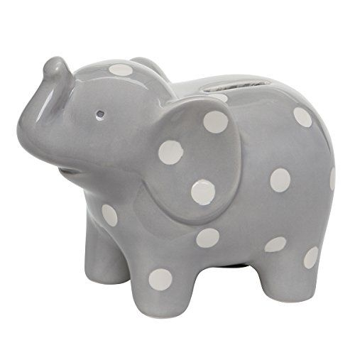 Elegant Baby Ceramic Elephant Bank with White Polka Dots, Gray Elegant Baby http://www.amazon.com/dp/B00U0X38P6/ref=cm_sw_r_pi_dp_MjjGvb0QT1S7X