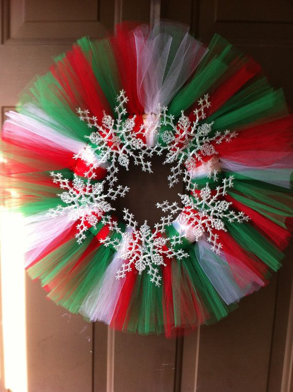 Ready to Ship Snowflake Tulle Wreath in by AshcraftCreations, $25.00
