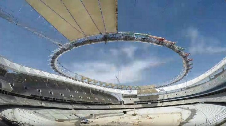 Wanda metropolitano football stadium cover timelapse for Puerta 3 wanda metropolitano