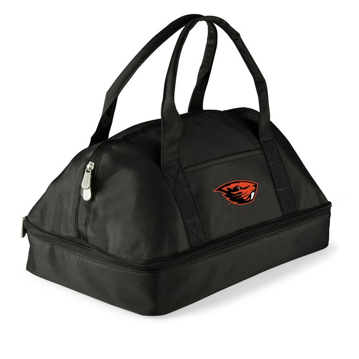 Your casserole will arrive at the party piping hot, or chilled if you prefer, thanks to the thermal bottom compartment in this potluck tote. The expandable, leak proof upper section for salads, appetizers, dips or serving utensils. For over-sized utensils or tablecloth there are two built-in elastic loops on the exterior. The Oregon State Beavers insulated casserole carrier is as practical as it is fun.