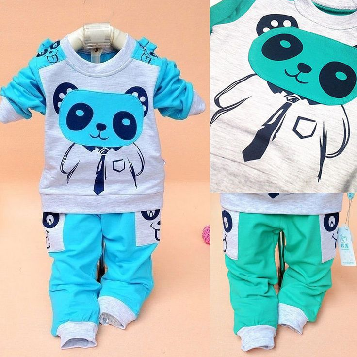 New Cute Animal Baby Boy Girls Clothes Tops+Romper Outfits 1-4 Years Old  Blue