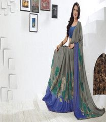 Grey Color Wrinkle Chiffon Sarees For Casual Parties : Sharda Collection  YF-40858