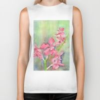 Biker Tank featuring Red Orchid by Ewally