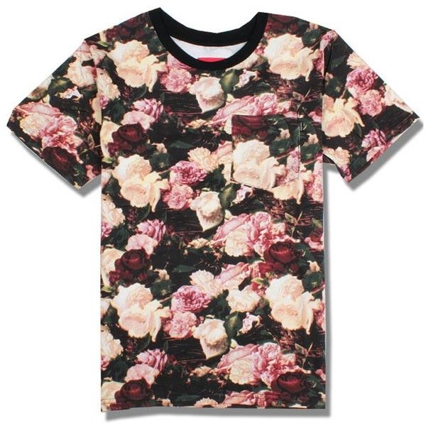 Iwoo Women Rose Flower Print T Shirt ($11) ❤ liked on Polyvore featuring tops, t-shirts, floral graphic tees, floral tee, rosette top, floral print tops and floral tops