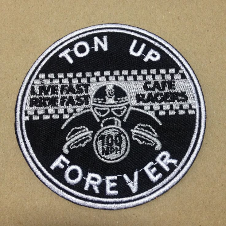 "Ton Up Forever Cafe Racers, Live Fast Rider Fast, 100 mph, Biker Patch, iron on patch for jackets, jeans clothing appliqués | W3 x H3 "" by LanstangShop on Etsy"