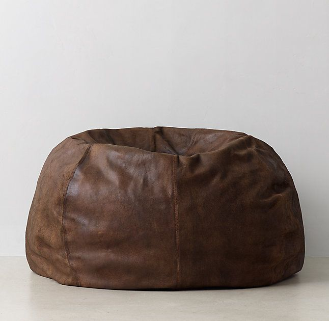 "RH Oversized Leather Bean Bag 45"" diam. Great for us guys who hate chairs being in the way!"