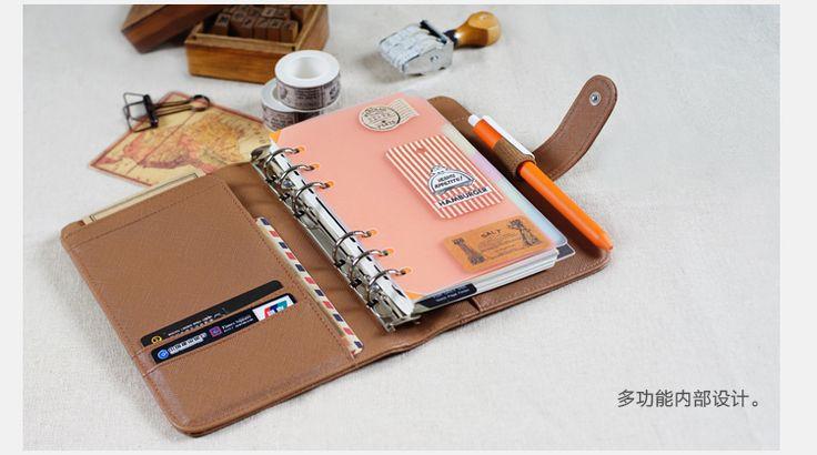 Creatieve holle leer spiraal notebook, leuke school agenda organizer/binder dagboek planner/travel journal filofax briefpapier A5A6 in    2 opties in dit commodity:een gewoon omvat alleen lederen cover, de andere optie omvat lederen cove van notebooks op AliExpress.com | Alibaba Groep
