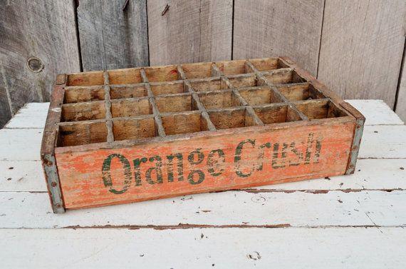 Orange crush soda bottle crate wooden box orange green for Wooden soda crate ideas