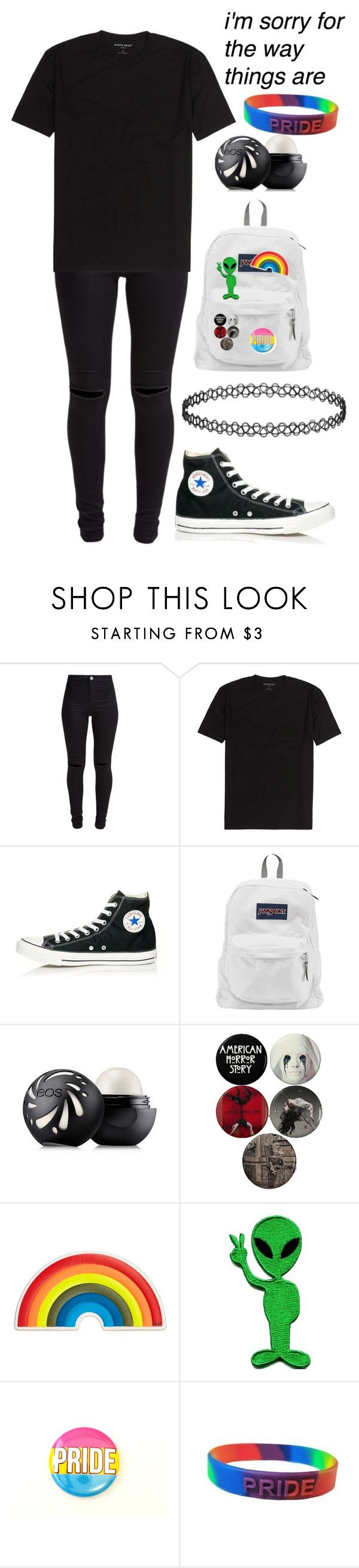 """""""I'm sorry for the way things are"""" by xxghostlygracexx ❤ liked on Polyvore featuring New Look, Converse, JanSport, Eos, Anya Hindmarch and Retrò"""