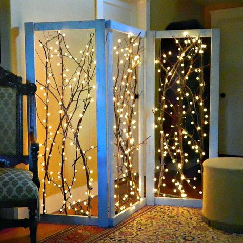 14 diy decor projects that started with branches - Where To Buy Christmas Lights Year Round