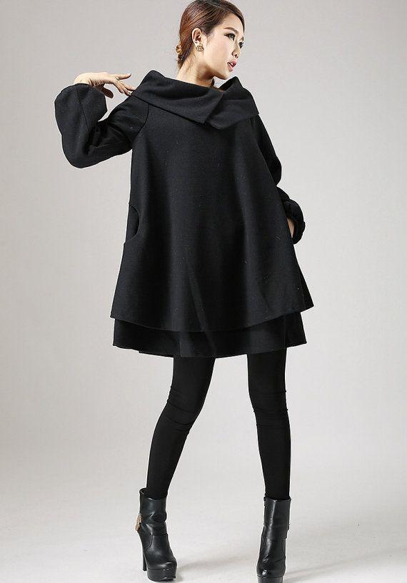 Black wool dress mini dress swing dress 733 by xiaolizi on Etsy, $119.00