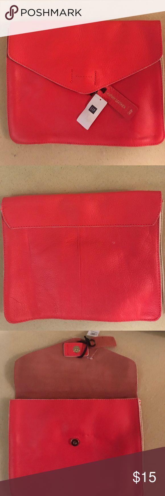 Leather clutch Gap pretty Red/Orange all leather brand new clutch. GAP Bags Clutches & Wristlets