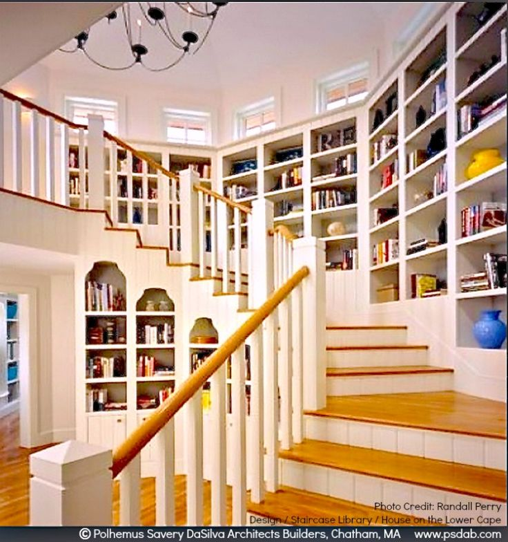 Staircase Library design & photo  © Polhemus Savery DaSilva Architects Builders, Chatham, MA  via their site. House on the Lower Cape project.  Photo credit: Randall Perry. [Do not remove caption. Crediting the copyright holder is required by law. Link directly to the firm's site.]   PINTEREST on COPYRIGHT:  http://pinterest.com/pin/86975836526856889/