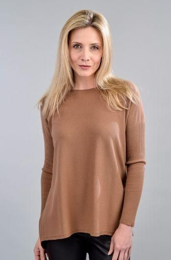 Suzy D Soft Knit Top with Ribbed Sleeves