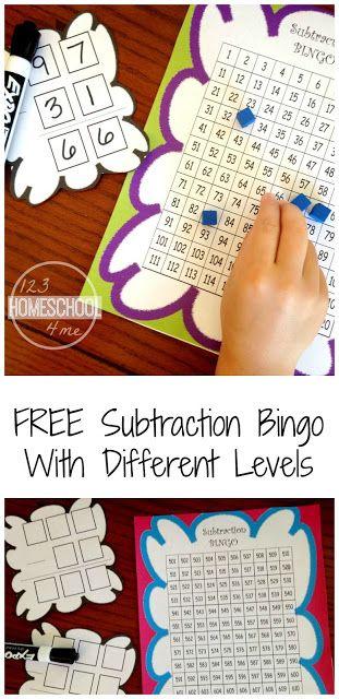 FREE Subtraction Bingo