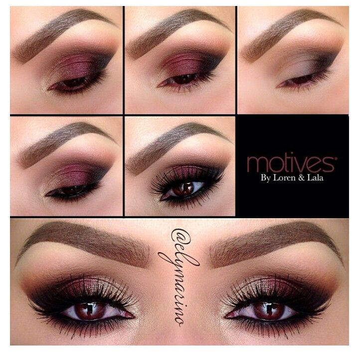 Cranberry and warm brown eyeshadow- love this makeup!
