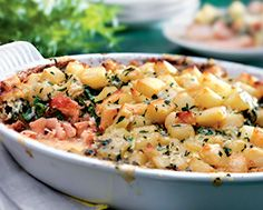 Layered Salmon Crumble with Gruyère Potatoes