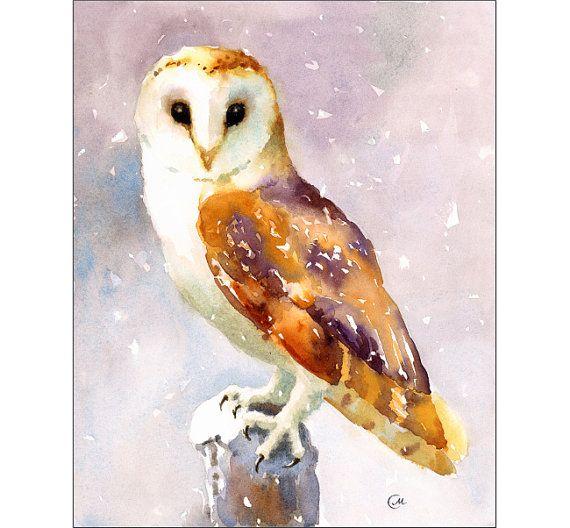 Effraie des clochers  peinture aquarelle par CMwatercolors sur Etsy