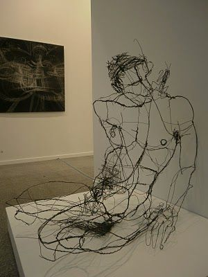 David Oliveira, wire sculpture. These are so neat, like a 2d line drawing in 3d.
