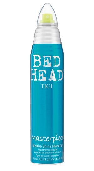 Has great hold and lots of shine, a 2-1 hairspray: Bed Head by TIGI   Products   Styling   Hairsprays   Masterpiece Hairspray