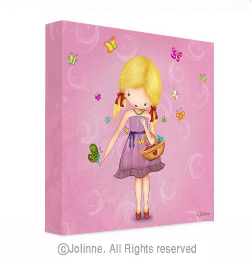 Girls pink room picture, nursery decor, blond girl with butterflies, children canvas wall art, ready to hang, purple, kids room art. $39.00, via Etsy.