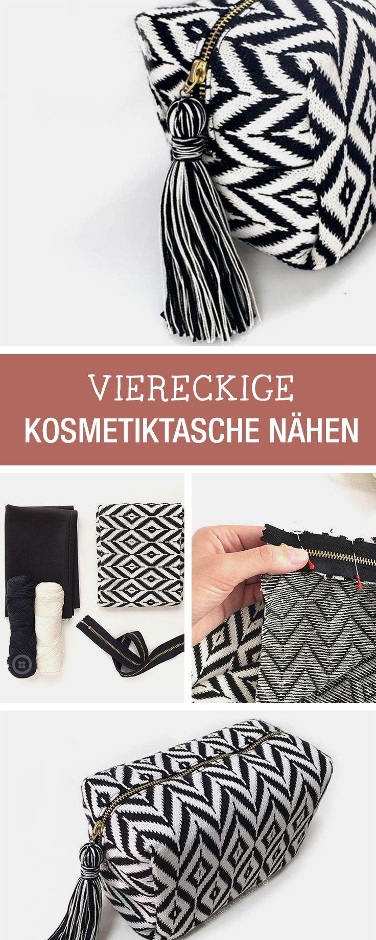 Taschen selbernähen: Nähanleitung für eine viereckige Kosmetiktasche / diy sewing tutorial for cosmetic bag via DaWanda.com