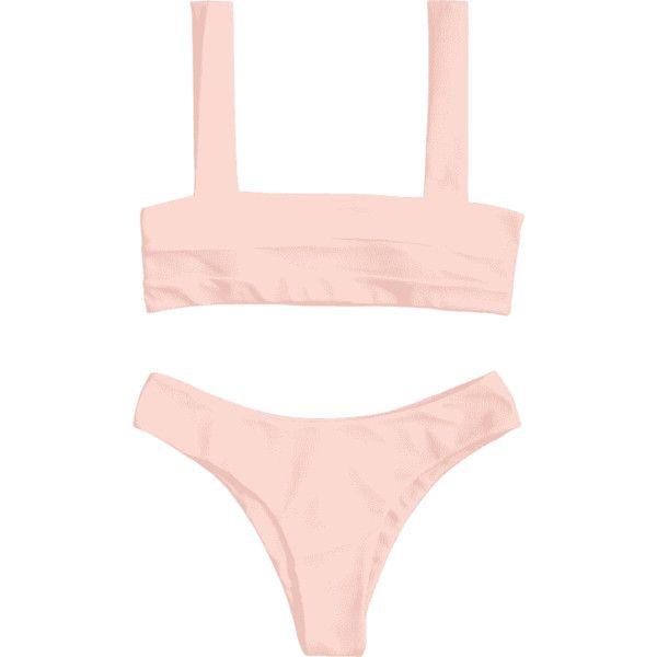 Bandeau Padded Bikini Top And Bottoms ($13) ❤ liked on Polyvore featuring swimwear, bikinis, bandeau swim tops, pink bikini, tankini tops, pink bikini top and bikini tops