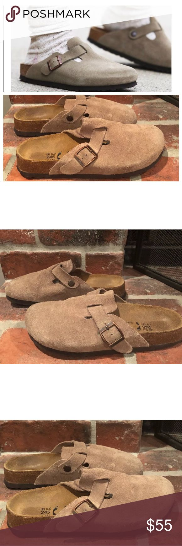 Birkenstock Betula Suede Boston Clogs size 7 This listing is for a pair of Betula/Birkenstock Suede Boston Clogs in a Women's size 7. They are in very good condition. Please see all pics. Minimal wear to suede.   I absolutely love the way Free People styled these (see stock pic). Please note the stock photo may be slightly different than the item for sale.  Layer these with this socks in the winter and no socks in the spring. Shoes Mules & Clogs