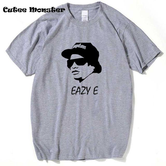 Eazy E T Shirt Men hip hop rap N.W.A biggie tupac 2pac dr dre ice cube gangsta rap tshirt White/Gray Tee Size 3XL