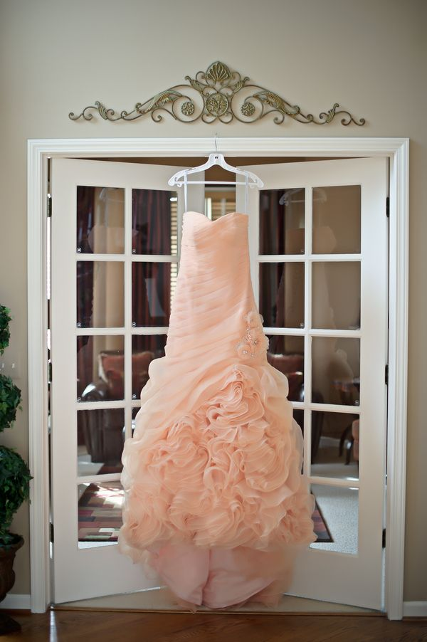 Salmon wedding dress  |  sarah kossuch photography. I LOVE THIS DRESS!!! not so much in salmon, but this dress!! AHHH!!! I want it.
