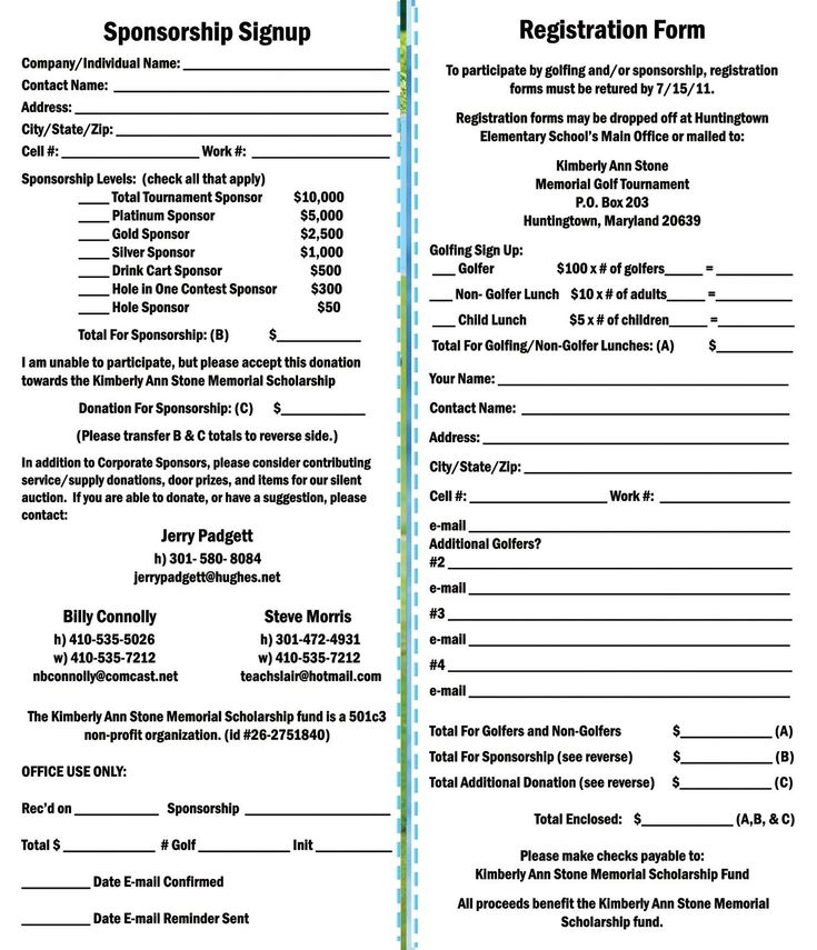 Kimberly Ann Stone 4th Annual Memorial Golf Tournament: Registration Form