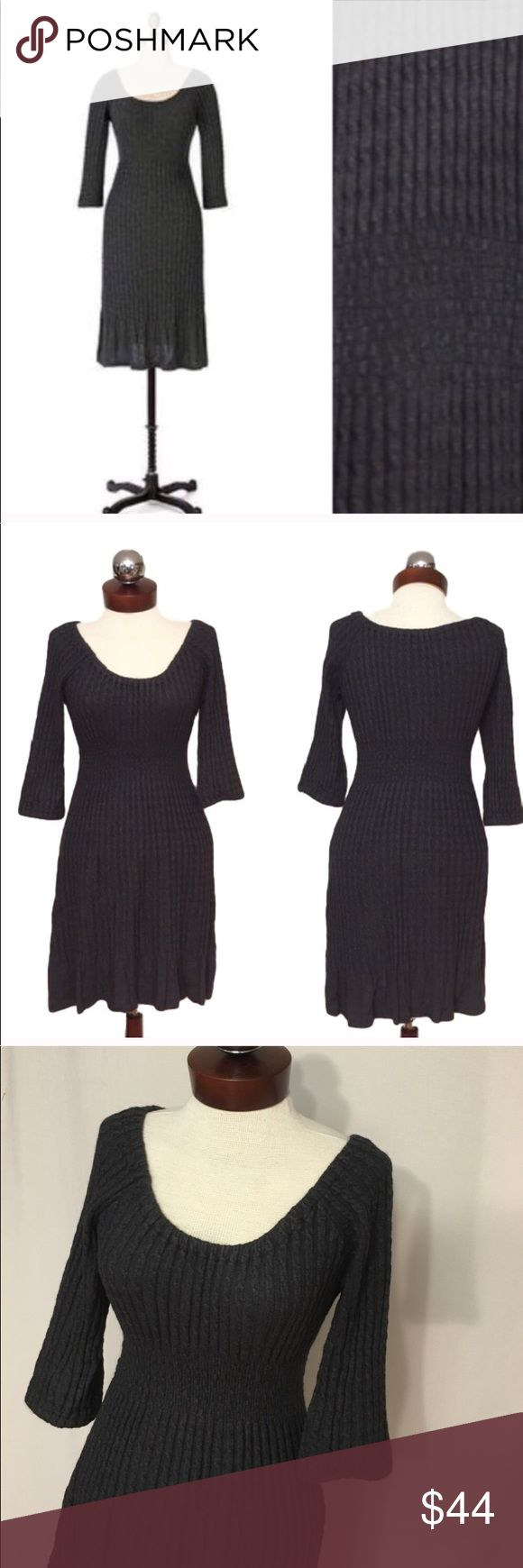 Anthropologie MAPLE Mazzola sweater dress charcoal There is a light all over fuzzing, likely due to the angora content. I believe this is original and not a sign of wear. Otherwise, excellent condition! Form fitting with a ton of stretch-  Unstretched-stretched Bust 22-38 Waist 33-46 Hip 40-64  Length 36                                                         Slim cables and puffed half-sleeves lend a modern fit to Maple's cozy frock. Cotton, angora Dry clean Style No. 830095 Anthropologie…