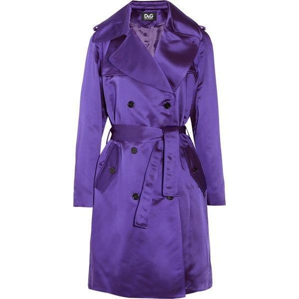Dolce Gabbana Purple Satintwill Trench Coat ❤ liked on Polyvore featuring outerwear, coats, dolce gabbana coat, trench coat, purple trench coat, purple coat and purple trenchcoat
