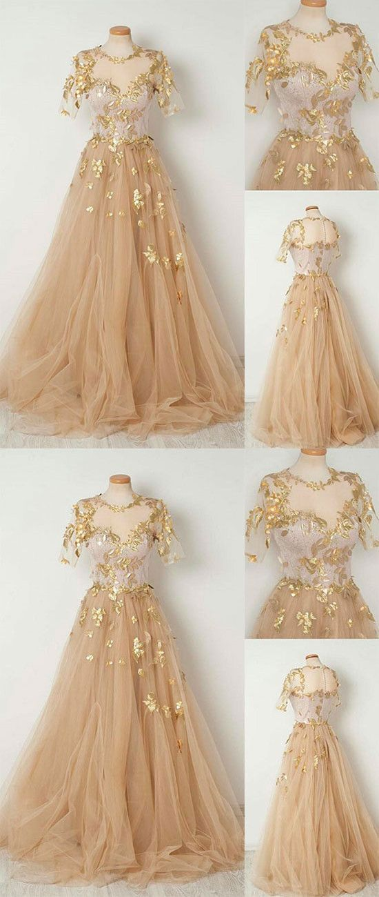0c44116523 Champagne Tulle Long Prom Dress, Evening Dresses in 2019 | Clothes | Prom  dresses, Fashion dresses, Tulle prom dress