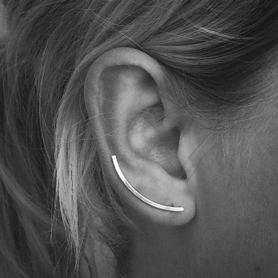 Sterling Silver Ear Climbers - Ear Pins - Ear Crawler - Ear Sweep - Minimalist - Custom Made To Order