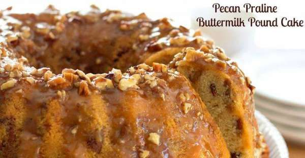 This Pecan Praline Buttermilk Pound Cake recipe is the mother of all pound cakes with a delicious su ...