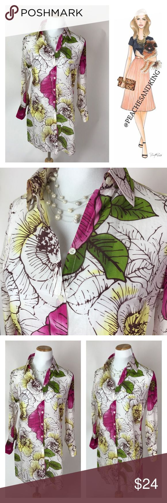 Beautiful Kenar Floral Button Down Tunic Size 10 This listing is for a beautiful Kenar Floral Button-down Tunic Top in a Size 10,  •Semi sheer  •fabric 30% silk 70% cotton •wash instructions - Dry clean only •Top will be delivered gently steamed and beautifully wrapped in tissue  🍑We strive to ship out the same day if ordered before noon and the next day if after.  Follow us on Instagram @peachesandking 🍑  🛍Bundle & save!  10% off 2 or more items! Kenar Tops Tunics