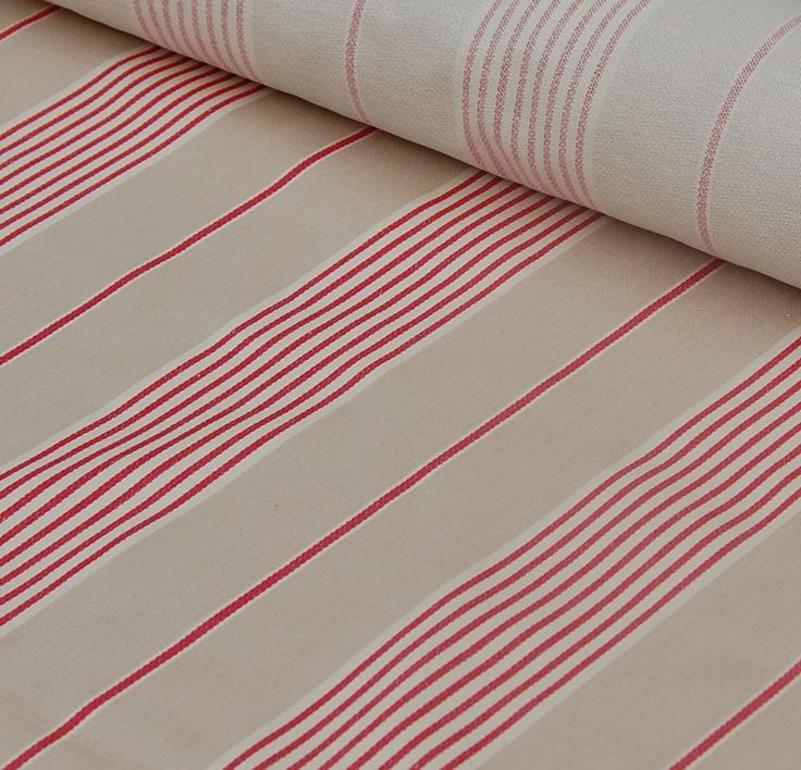 Traditional Cotton Herrinbone Red March Stripe Fabric In