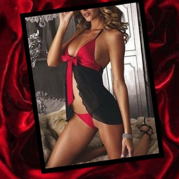 ❤️Lingerie set❤️ ❤️Hot and sexy black and red lingerie nighty set❤️️Sexy red bow ribbon ❤️ Accessories