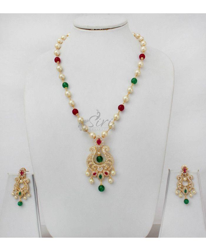 Chand baali style AD pendant South sea pearl Maala
