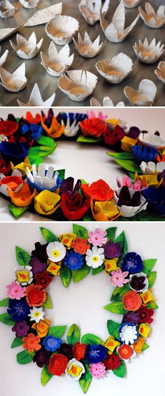 Con hueveras de carton / Egg carton idea: a flower wreath made from egg cartons