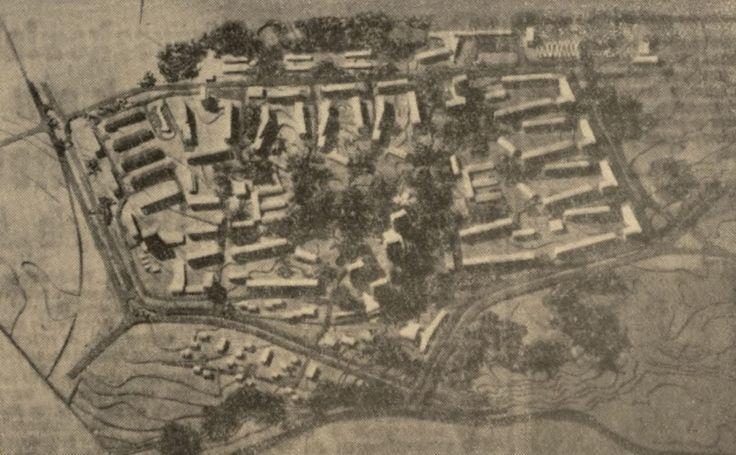 Makieta Tatary, na górze makiety ul. Gospodarcza, po prawej Hutnicza, po lewej Mełgiewska, JUN 1960 źródło; JP555