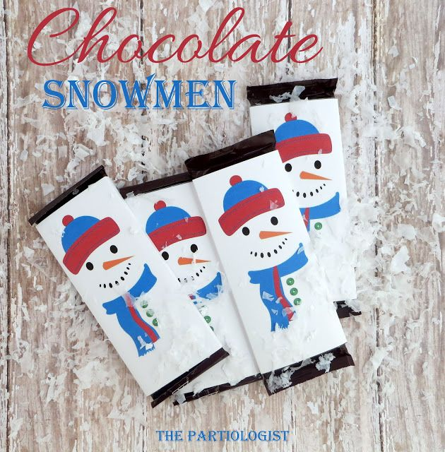 Snowman Wrapped Hershey Bar + Free Printable Wrapper