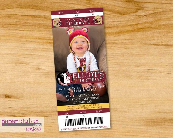 How cute! Florida State ticket stub invitation! LOVE IT!
